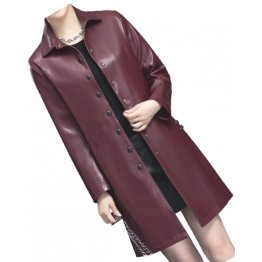 Womens Elegant Real Lambskin Burgundy Long Leather Trench Coat