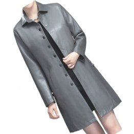 Womens Elegant Real Lambskin Gray Long Leather Trench Coat