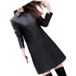 Womens Exceptional Fashion Genuine Sheepskin Black Long Leather Trench Coat