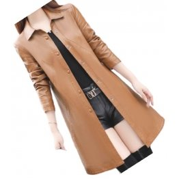 Womens Exceptional Fashion Genuine Sheepskin Brown Long Leather Trench Coat