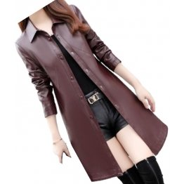 Womens Exceptional Fashion Genuine Sheepskin Burgundy Long Leather Trench Coat