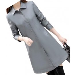 Womens Exceptional Fashion Genuine Sheepskin Gray Long Leather Trench Coat