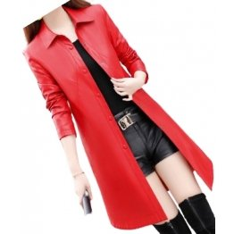 Womens Exceptional Fashion Genuine Sheepskin Red Long Leather Trench Coat