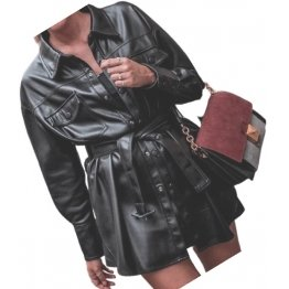 Womens Eye-Catching Genuine Sheepskin Black Long Leather Trench Coat
