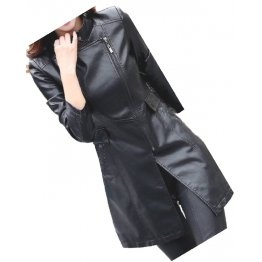 Womens Fabulous Real Lambskin Black Long Leather Trench Coat