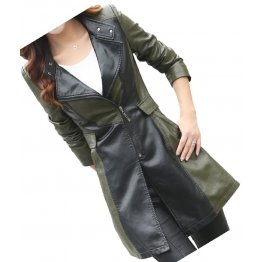 Womens Fabulous Real Lambskin Olive Green Long Leather Trench Coat