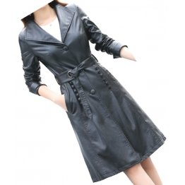 Womens Fashionable Real Lambskin Black Long Leather Trench Coat