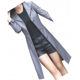 Womens Fashionable Real Lambskin Gray Long Leather Trench Coat