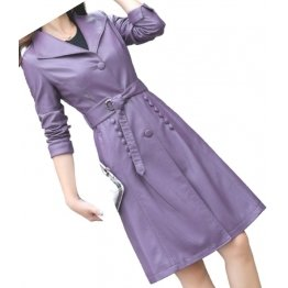 Womens Fashionable Real Lambskin Purple Long Leather Trench Coat