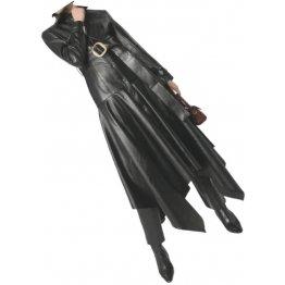 Womens Glamorous Fashion Genuine Sheepskin Black Long Leather Trench Coat