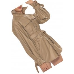 Womens Glamorous Outfit Genuine Sheepskin Khaki Color Long Leather Trench Coat