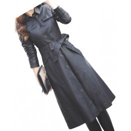 Womens Glamorous Real Lambskin Black Long Leather Trench Coat