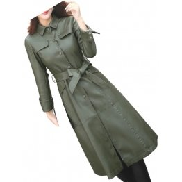Womens Glamorous Real Lambskin Olive Green Long Leather Trench Coat