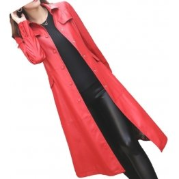 Womens Glamorous Real Lambskin Red Long Leather Trench Coat