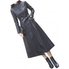 Womens Great Look Real Lambskin Black Long Leather Trench Coat