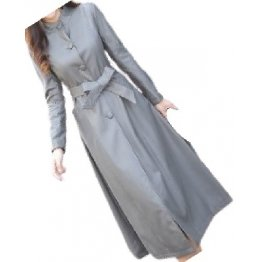 Womens Great Look Real Lambskin Gray Long Leather Trench Coat