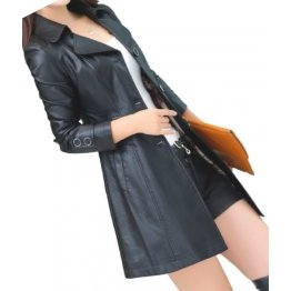 Womens High Fashion Genuine Sheepskin Black Long Leather Trench Coat