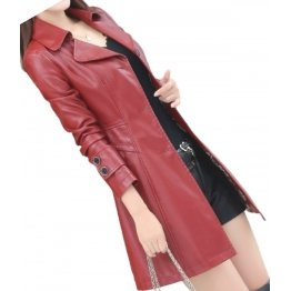 Womens High Fashion Genuine Sheepskin Burgundy Long Leather Trench Coat