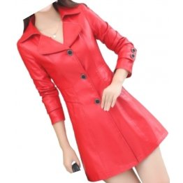 Womens High Fashion Genuine Sheepskin Red Long Leather Trench Coat