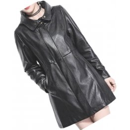 Womens Hooded Genuine Sheepskin Black Long Leather Trench Coat