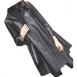 Womens Impressive Fashion Hooded Genuine Sheepskin Black Long Leather Trench Coat