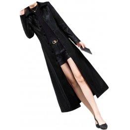 Womens Marvellous Design Genuine Sheepskin Black Long Leather Trench Coat