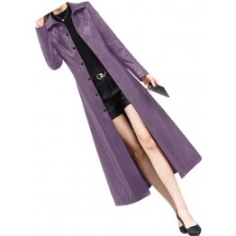 Womens Marvellous Design Genuine Sheepskin Purple Long Leather Trench Coat