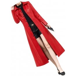Womens Marvellous Design Genuine Sheepskin Red Long Leather Trench Coat