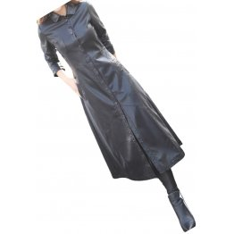 Womens New Outwear Real Lambskin Black Long Leather Trench Coat