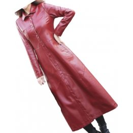 Womens New Outwear Real Lambskin Red Long Leather Trench Coat