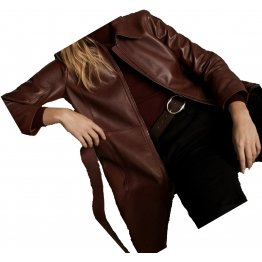 Womens Premium Real Lambskin Brown Leather Long Trench Coat
