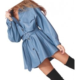 Womens Prominent Stylish Genuine Sheepskin Blue Long Leather Trench Coat