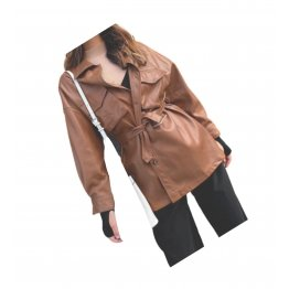 Womens Prominent Stylish Genuine Sheepskin Brown Long Leather Trench Coat
