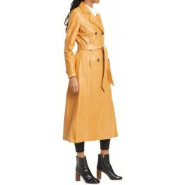 Womens  Real Lambskin Tan Long Leather Trench Coat