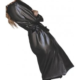 Womens Sensational Outfit Genuine Sheepskin Black Long Leather Trench Coat
