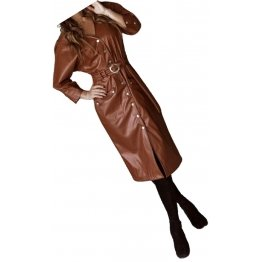 Womens Sensational Outfit Genuine Sheepskin Brown Long Leather Trench Coat