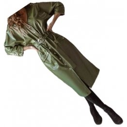 Womens Sensational Outfit Genuine Sheepskin Olive Green Long Leather Trench Coat