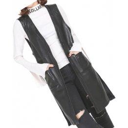 Womens Side Split Sleeveless Genuine Sheepskin Black Long Leather Trench Coat