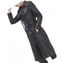 Womens Sophisticated Real Lambskin Black Long Leather Trench Coat