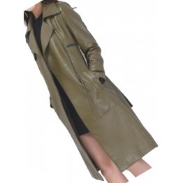 Womens Sophisticated Real Lambskin Olive Green Long Leather Trench Coat