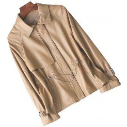 Womens Stunning Genuine Sheepskin Beige Leather Coat Jacket