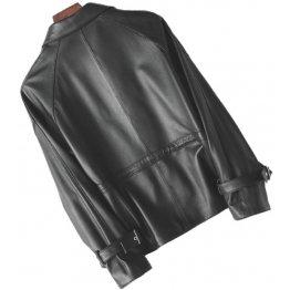 Womens Stunning Genuine Sheepskin Black Leather Coat Jacket