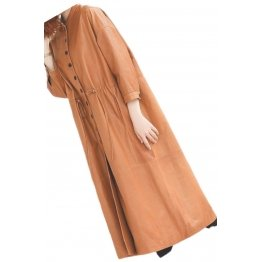 Womens Timeless Fashion Genuine Sheepskin Brown Long Leather Trench Coat