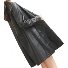 Womens Trendy Real Lambskin Black Long Leather Trench Coat