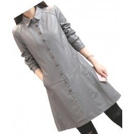 Womens Trendy Real Lambskin Gray Long Leather Trench Coat