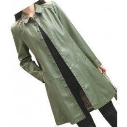 Womens Trendy Real Lambskin Olive Green Long Leather Trench Coat