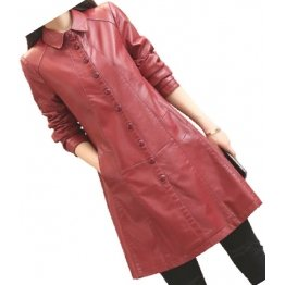 Womens Trendy Real Lambskin Red Long Leather Trench Coat