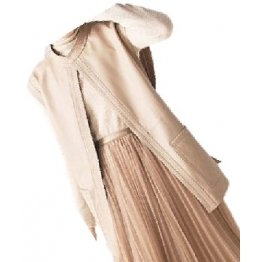 Womens Trendy Sleeveless Genuine Sheepskin Beige Long Leather Trench Coat