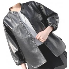 Womens Amazing Style Outwear Real Lambskin Black Leather Top