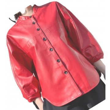 Womens Amazing Style Outwear Real Lambskin Red Leather Top
